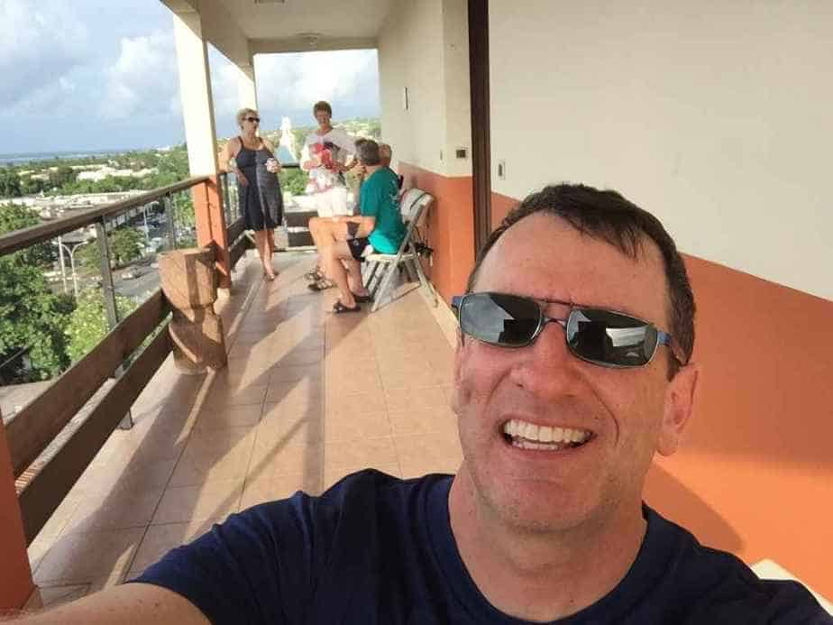 Henry Tenby on the airport viewing balcony for hotel guests at the Tahiti Airport Hotel.