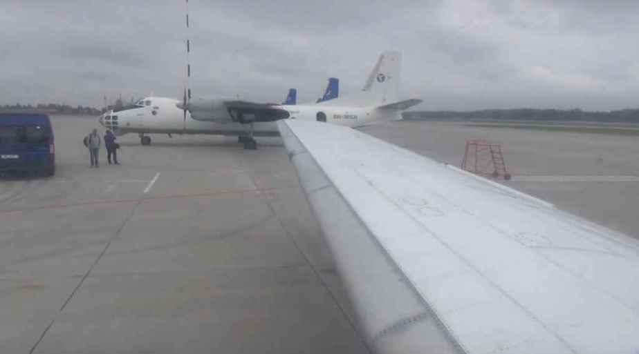 Passenger wing view of Motorsich Yak-40 at Minsk