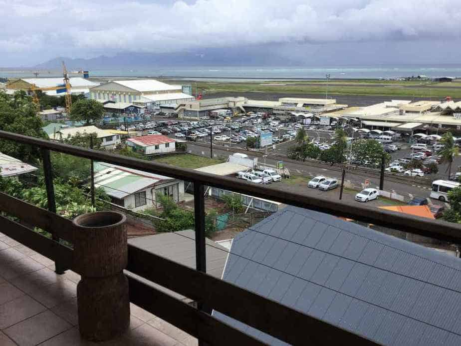 Balcony view of Tahiti's Faaa airport from the Tahiti Airport Hotel.