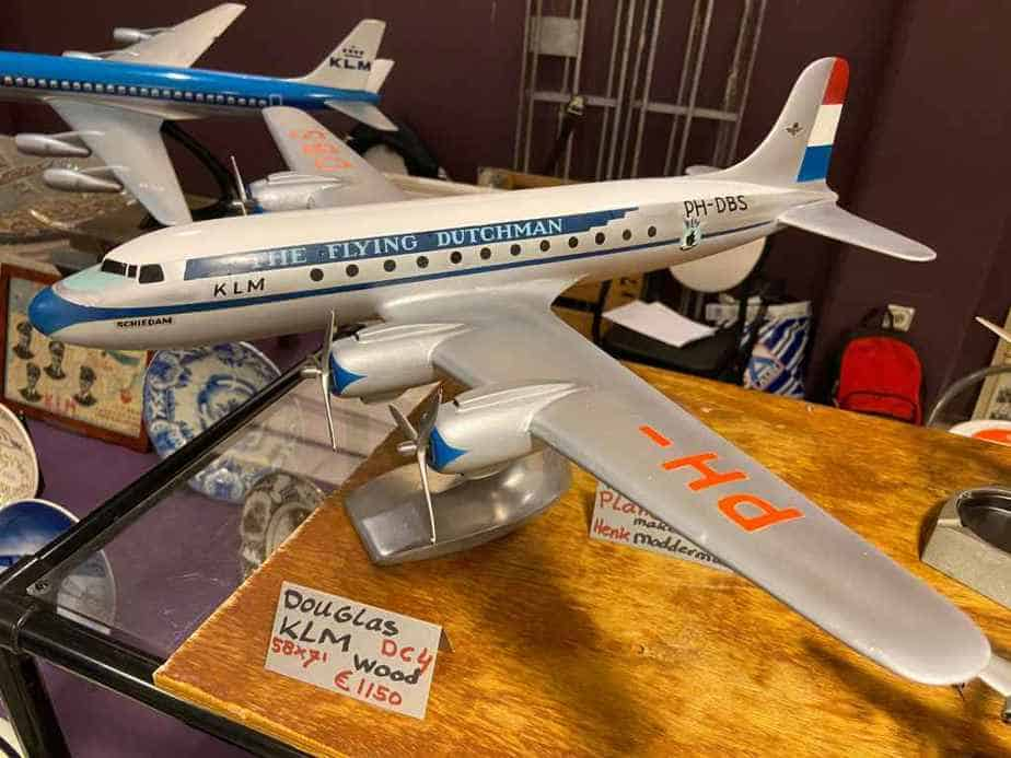 KLM DC-4 in wood, possibly made by the KLM model shop in the 1950s