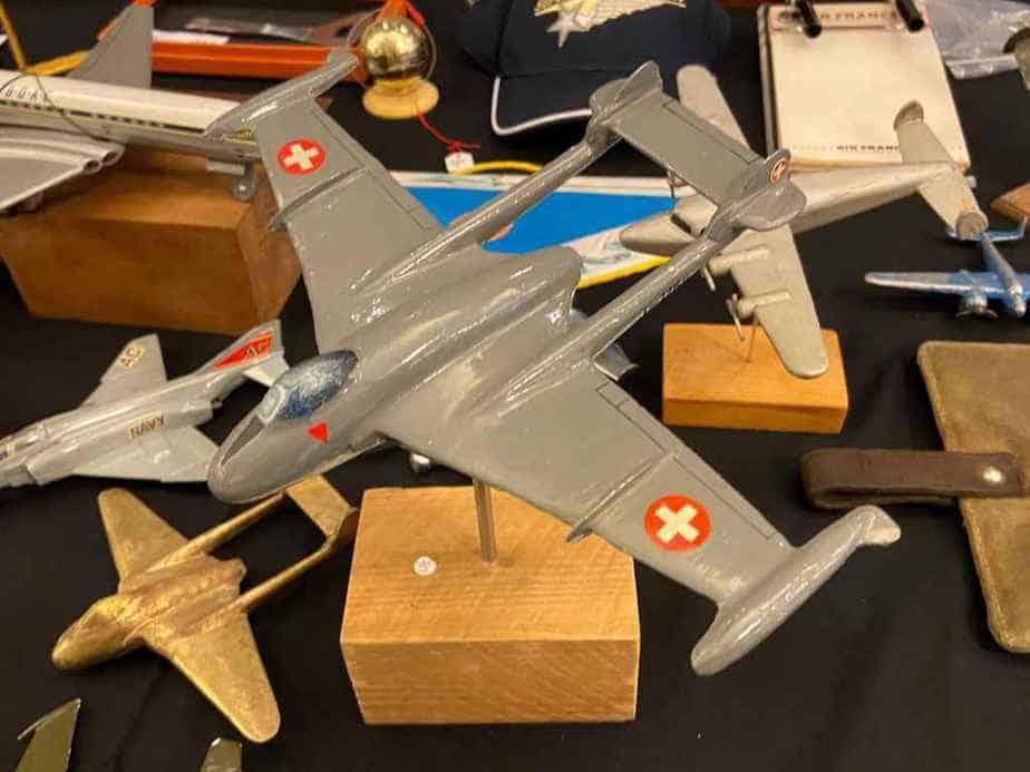 A 1/48 scale Swiss Air Force De Havilland Vampire model in metal.