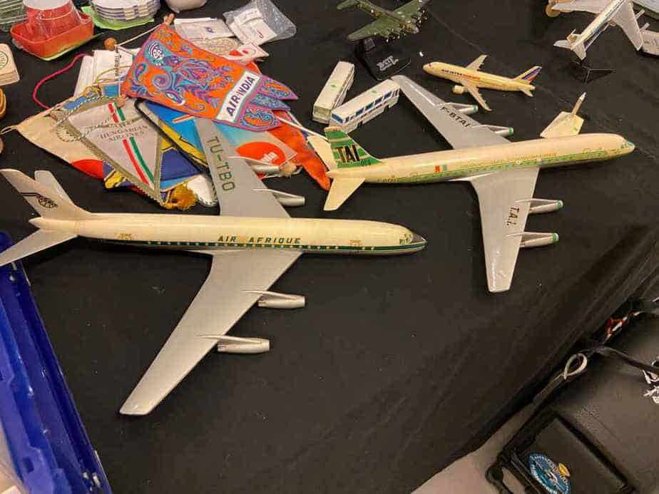 Two 1/100 plastic DC-8 models from France, for sale at 100 Euros each at the 2020 Amsterdam Aviation Collectors Fair.