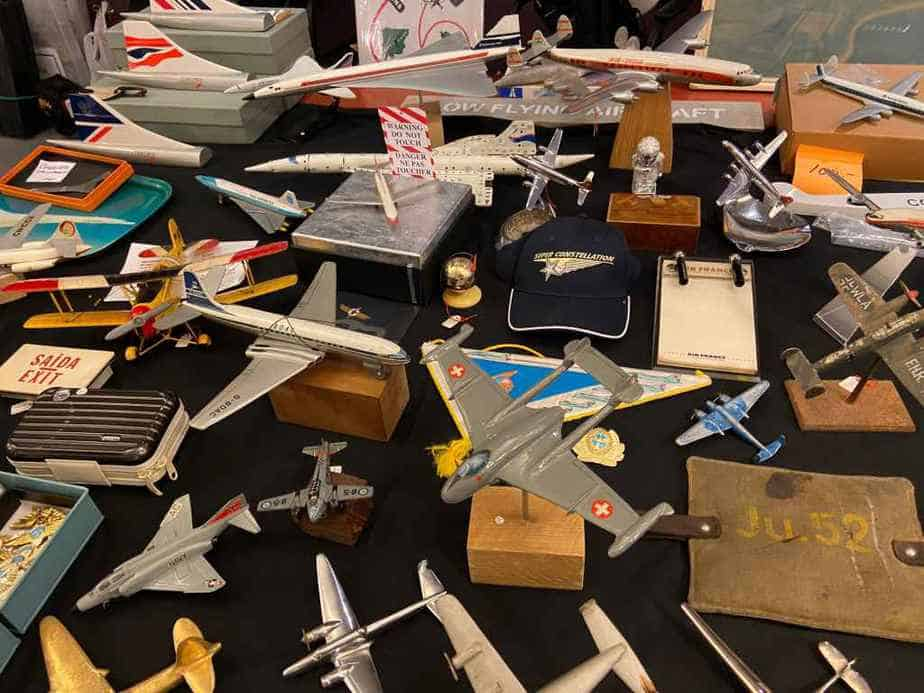 Fabulous selection of military and commercial aircraft display models for sale at the Amsterdam show.