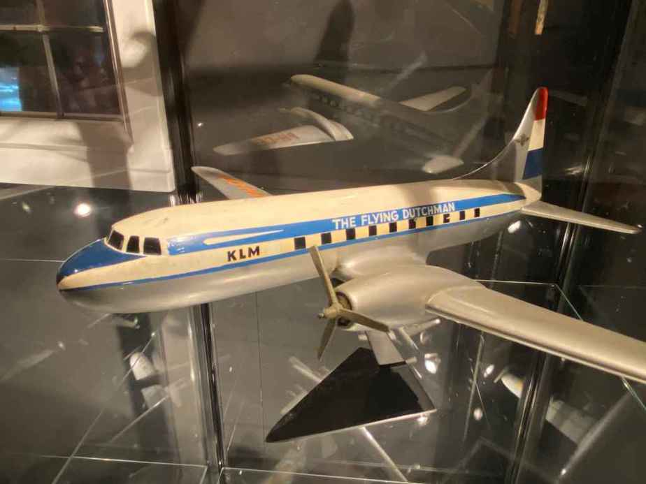 KLM Convair 340 in 1/50 scale made of wood as part of the Aviodrome Aviation Museum. This model was likely made by Raise Up.