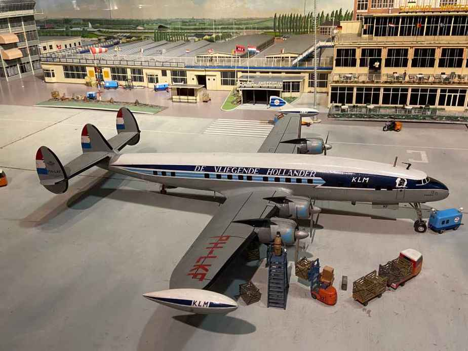 KLM Lockheed L-1049 Super Constellation in 1/50 scale as part of the Amsterdam Schiphol airport re creation at the Aviodrome Aviation Museum. This model was likely made by Matthias Verkuyl, circa 1960.
