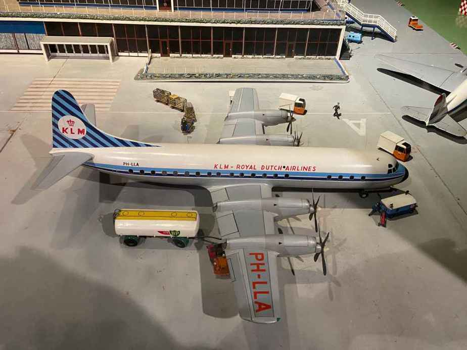 KLM Lockheed L-188 Electra in 1/50 scale as part of the Amsterdam Schiphol airport re creation at the Aviodrome Aviation Museum. This model was likely made by Matthias Verkuyl, circa 1960.