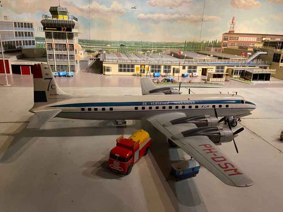 KLM Douglas DC-7 in 1/50 scale as part of the Amsterdam Schiphol airport re creation at the Aviodrome Aviation Museum. This model was likely made by Matthias Verkuyl, circa 1960.