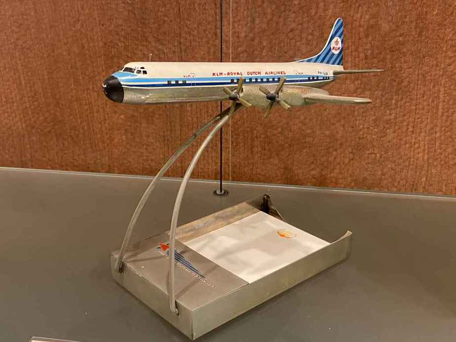 This is a small scale KLM Lockheed L-188 Electra in metal made by Raise Up circa early 1960s. This model is part of the Aviodrome Aviation Museum.