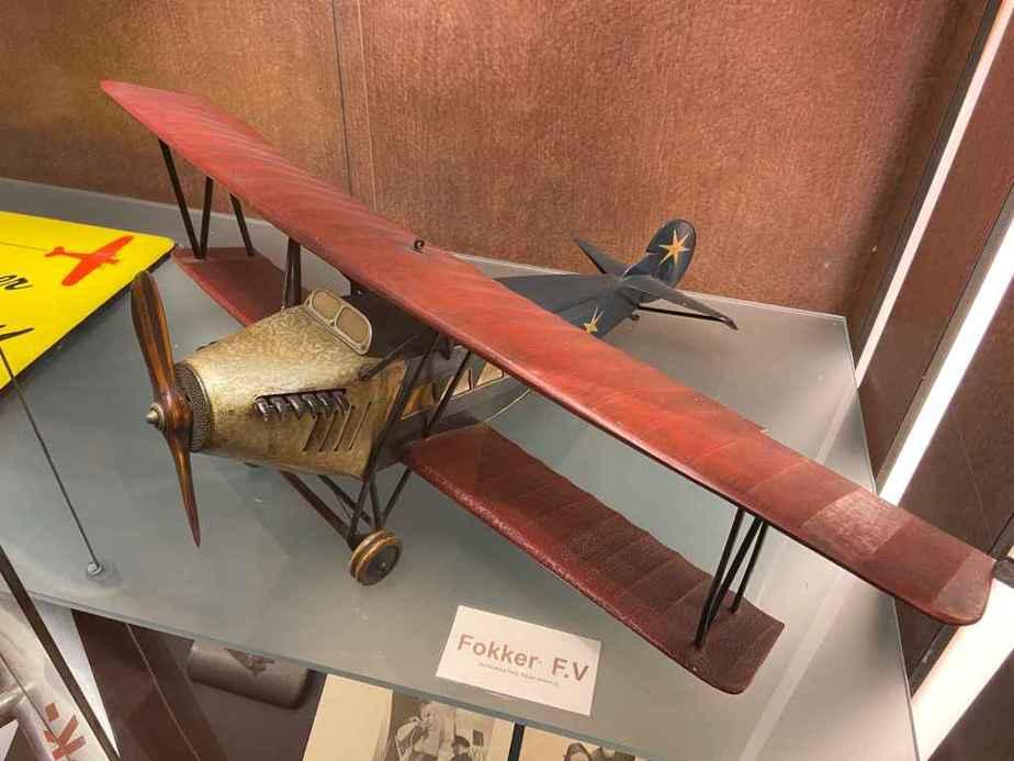 Vintage 1920s ear wooden Fokker F.V display model at the Aviodrome Aviation Museum.
