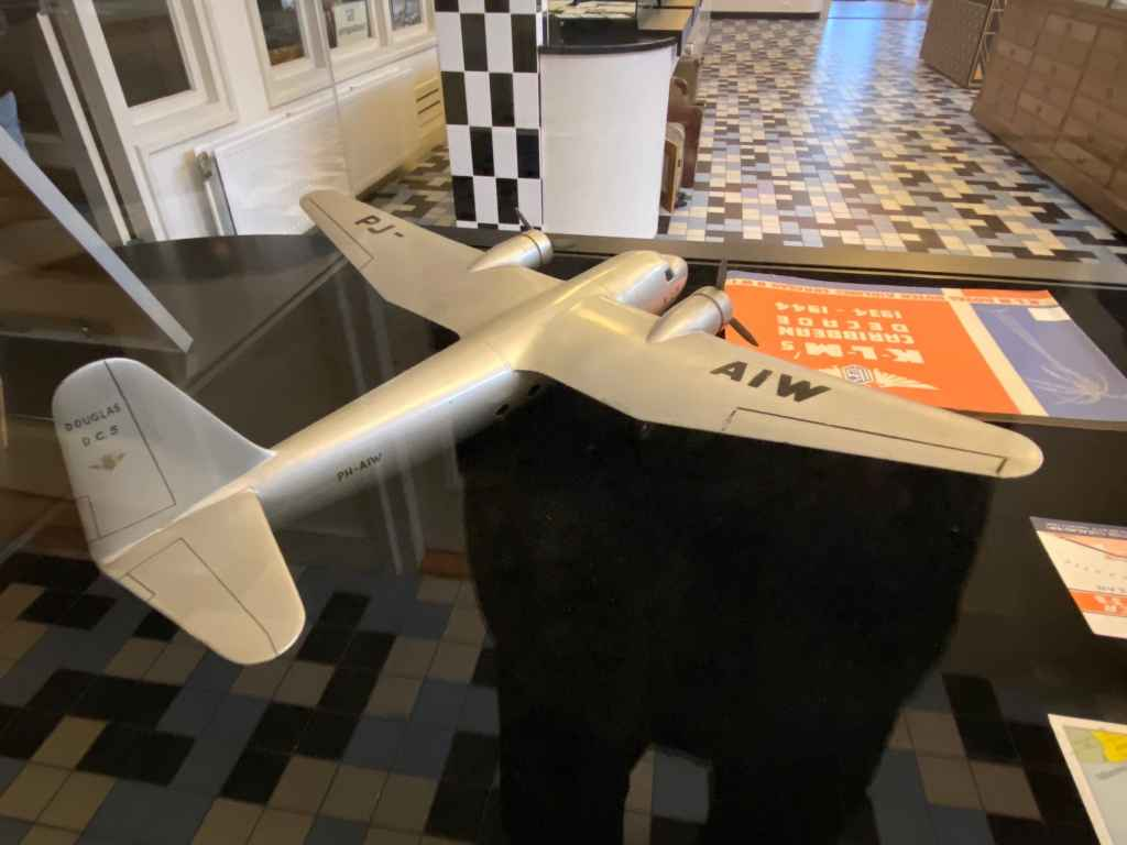 Large scale vintage wooden model of a Douglas DC-5 PJ-AIW circa 1940s at the Aviodrome Aviation Museum.
