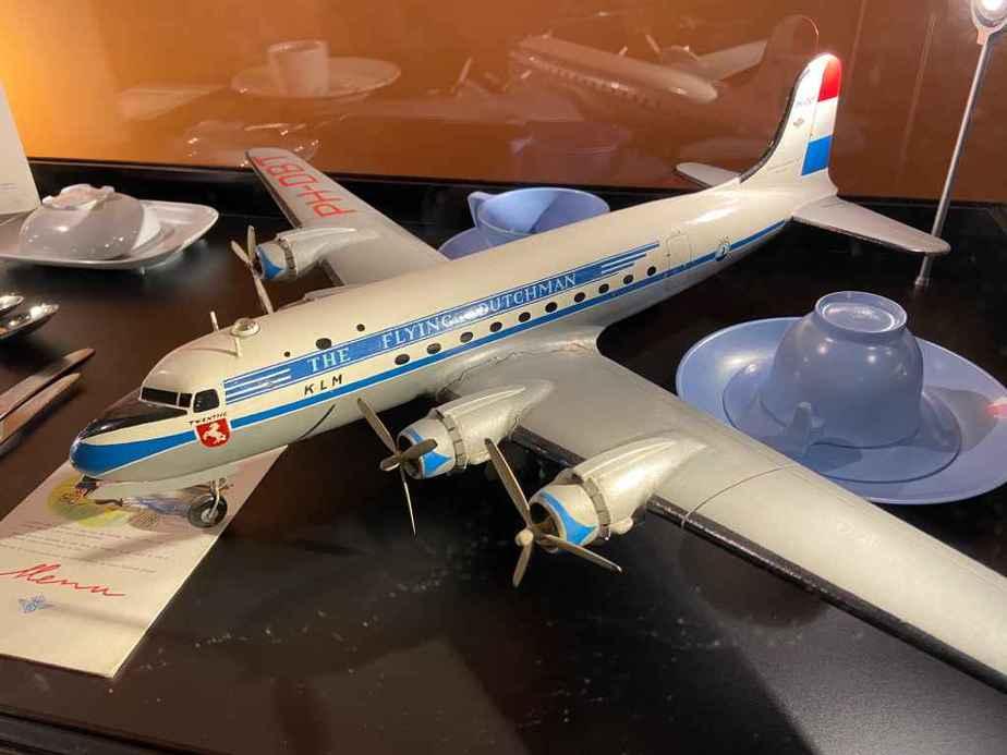1950s era 1/50 wooden KLM DC-4 display model at the Aviodrome Aviation Museum.