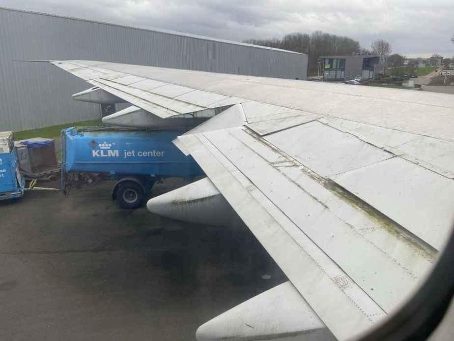 Once familiar wing view of KLM Boeing 747-300 PH-BUK at Aviodrome, Netherlands.