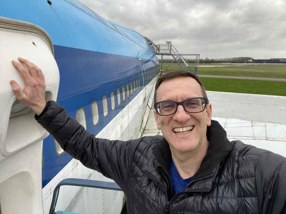 Henry Tenby with KLM Boeing 747-300 PH-BUK at Aviodrome, Netherlands.