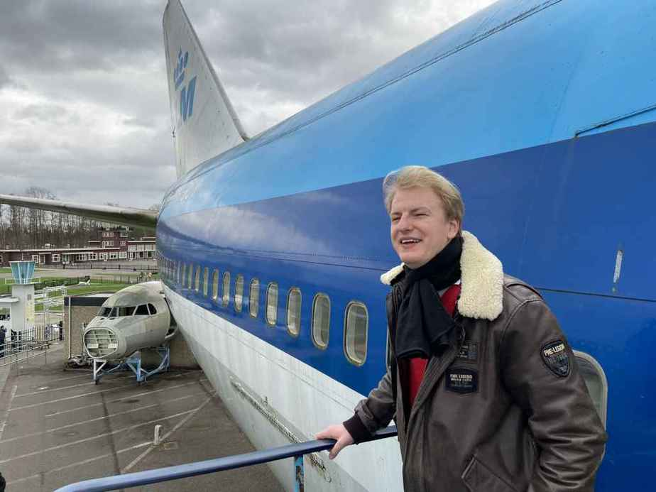 Niels Dam with KLM Boeing 747-300 PH-BUK at Aviodrome, Netherlands.