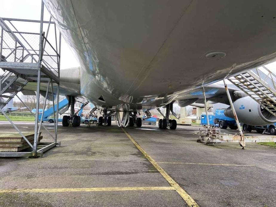 Under belly gear study of KLM Boeing 747-300 PH-BUK at Aviodrome, Netherlands.