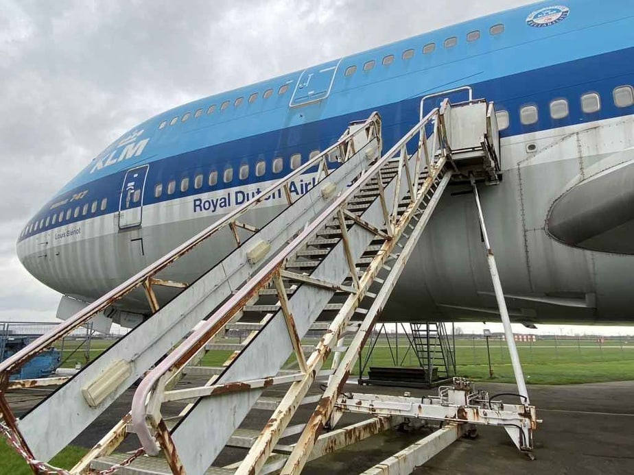 KLM Boeing 747-300 PH-BUK at Aviodrome, Netherlands looking at bit worse for wear, no this is not the boarding steps at Kinshasa, Congo!