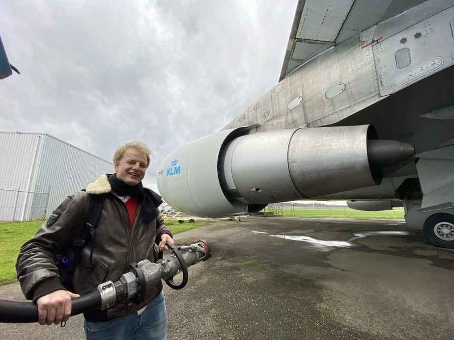 Niels Dam prepares to connect hydrant fuelling connection to KLM Boeing 747-300 PH-BUK at Aviodrome, Netherlands.