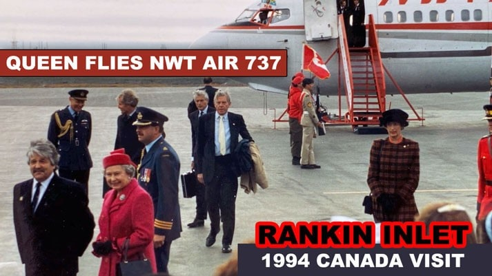 Queen Elizabeth and the Duke of Edinburgh arrive at Rankin Inlet, NWT in Canada's North as video reported by Henry Tenby on August 22, 1994.