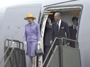 Queen Elizabeth and the Duke of Edinburgh arrive at Yellowknife, NWT in Canada's North as video reported by Henry Tenby on August 19, 1994.