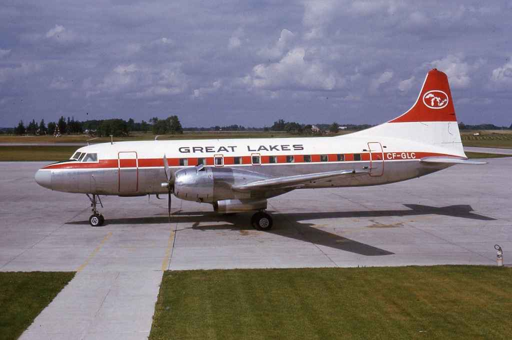 An absolutely magnificent shot of Great Lakes Convair 440 CF-GLC possibly at London, Ontario in July 1973. This aircraft was acquired from Swissair in December, 1969, and operated with Great Lakes until 1975, and was then parted out in 1976. In this photo it was still in the former Swissair scheme.