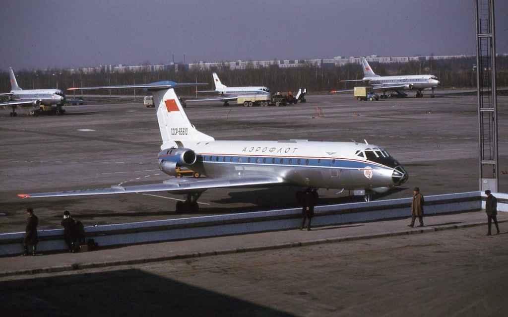 Aeroflot Tupolev Tu-134 CCCP-65613 at Moscow April 1974. (Photo by Dr. John Blatherwick)