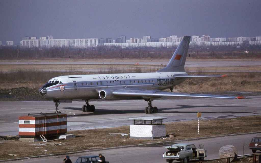 Aeroflot Tupolev Tu-104 CCCP-42416 at Moscow April 1974. (Photo by Dr. John Blatherwick)