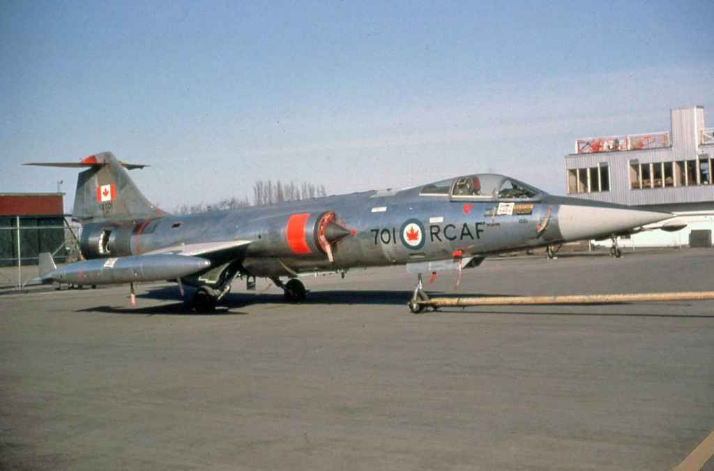 RCAF CF104 Starfighter 12701 taken at an unknown location in the 1960s.