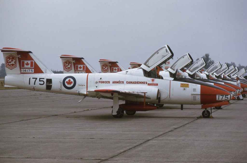 Canadian Armed Forces Snowbirds Canadair CL-41 Tutor 114175 at Abbotsford August 1972.