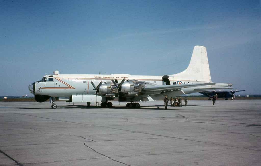 RCAF Royal Canadian Air Force Canadair Argus 10741 at CFB Namao June 1969.
